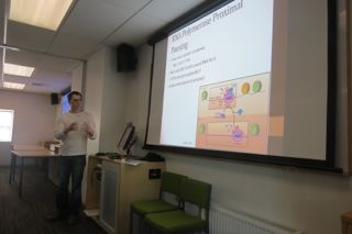 Mitchell presenting his MSc work at the R&D day
